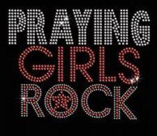 Praying Girl Rhinestone Iron on T Shirt Transfer   8C9J