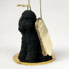 BLACK POODLE puppy DOG ANGEL Ornament Resin Figurine NEW Christmas sports cut