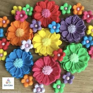 30 Edible Rainbow Bouquet Sugar Flowers Cup Cake Decorations Toppers  Wedding