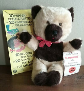 German Singing Teddy Bear with Mini removable Record Player and 10  Records - T