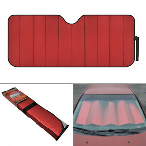 Fold-able Car Sun Shade Auto Windshield Front Window UV Protect Reflective Red