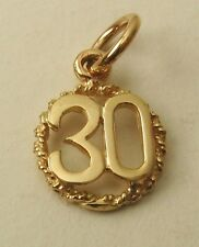 GENUINE SOLID  9K  9ct YELLOW  GOLD  30 TH BIRTHDAY ANNIVERSARY CHARM/PENDANT