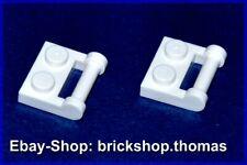 Lego 2 x Platten mit Griff 1x2 weiß - 48336 Plate with Handle white - NEU / NEW