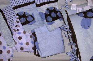 Kids Line Blue Brown Nursery LOT Turtle Sheets Bumper Valance Bed Skirt Blanket
