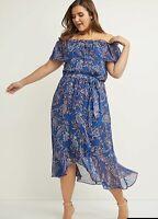 Lane Bryant Convertable Fit & Flare Midi Dress 14/16 Off Shoulder Blue Paisley