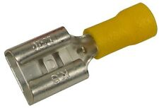 """Yellow Vinyl Insulated Female Disconnects 12-10 AWG, (Tab Size 0.375"""")"""