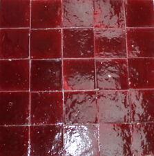20 Zellige Fliesen Kacheln Bodenplatten weinrot 10x10x2cm - Handarbeit Steinzeug