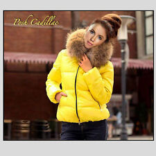 Yellow Down Zipper Quilted Jacket with Hood & Removable Fur Size: M-L