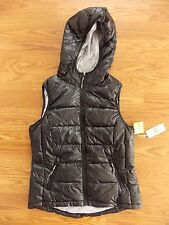 NWT Womens TANGERINE Black Quilted Puffer Hooded Vest Size M Medium