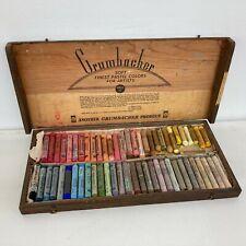 Vintage Grumbacher Rembrandt art pastels, original Wood case, 60 pc, series 11