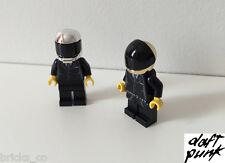 DAFT PUNK CUSTOM MINIFIGS MADE FROM LEGO PIECES - RARE CHROME HELMETS