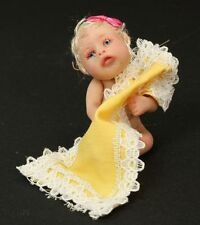 Baby Girl Miniature Doll with Yellow Blanket OOAK Polymer Clay
