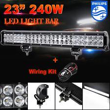 "240W 23""inch Philips LED Work Light Bar Flood Spot Combo 4WD Offroad ATV UTE 20"""