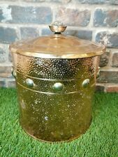 Vintage Hammered Copper Coal Bucket And Lid Brass Detail 32cm Height
