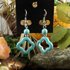 Cute New Tibetan Silver Turquoise Carved / Scultured Bead Dangle Drop Earrings