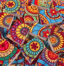 Ceramic Mosaic Tiles - Bright Colors Medallions Yellow Blue Pink Mosaic Tile