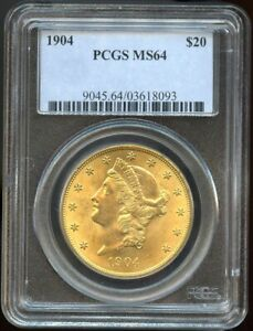 1904 $20 Gold Liberty Double Eagle MS 64 PCGS, Near Gem Great Color!