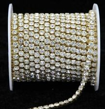 10 Yard Silver & Gold Glass Rhinestone DIY Close Chain Clear Trim Sewing Craft