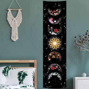 Wall Hanging Tapestry Black White Flower Moon Sun Floral Blanket Decor Bohemian