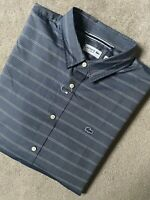 "LACOSTE NAVY BLUE STRIPED LOGO SLIM FIT L/S SHIRT TOP - 2XL 46"" - NEW"