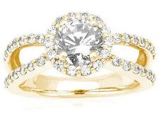Wedding 14k Yellow Gold Ring, Si1 2.19 carat total Round Diamond Halo Engagement
