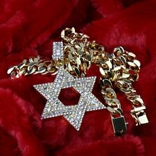 "Men's Hip Hop 14k Gold PT Star of David CZ Pendant Heavy 24"" Cuban Chain Link"