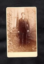 C1890 cdv/ Portrait photo of a young man in suit, hat & walking stick