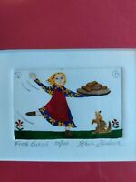 "Karla Gudeon/""Fresh Baked""/Hand Painted Engraving/Signed/#58/Jewish Art/Dog"
