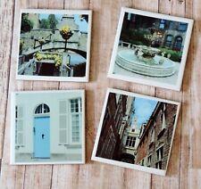 Historic Europe Photo Coasters, Historic Bruges Belgium Scenery Coaster Set,