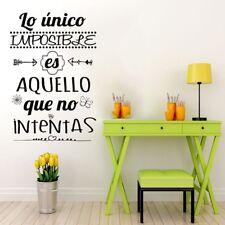 "Vinilo decorativo, pegatina frase pared""LO ÚNICO IMPOSIBLE."" DOCLIICK DC-16126"