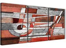 3 pezzi Rosso grigio dipinto art. a muro cucina Decor-Astratto 3401 - 126 cm