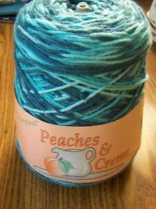 Peaches n Creme Cream Cotton Yarn Cone TEAL OMBRE