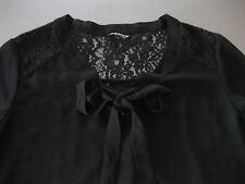 REVIEW Blusenshirt L Bluse Damen Schwarz transparent Rücken komplett Spitze, top