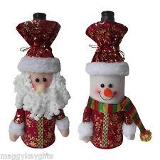 Pack 2 x Lujo Papá Noel & Muñeco Nieve Navidad Botella - BOLSAS REGALO -