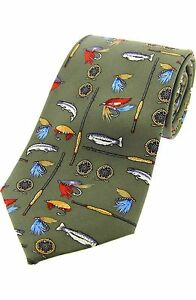 Fly Fishing Tie  light Green Silk Rods and Reels Tie Gift SILK new 133