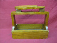 Antique Primitive Shoe Shine Cobbler Oak Wood Box Carrier