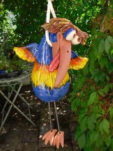 Galgenvogel Keramik, frostsicher, Unikat, Vogel, blau, Gartendeko