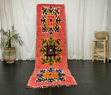 """Handmade Moroccan Boujad Vintage Runner 2'9""""x9'5"""" Red Berber Floral Tribal Rug"""