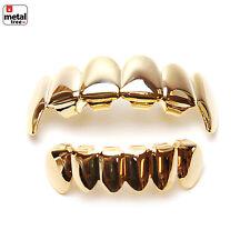 Vampire GRILLZ SET Fangs 14K IP Gold Plated Top & Bottom Plain Teeth L020/S001 G