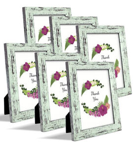 Ziranling 5X7 Picture Frame Wood Rustic Green 6 Piece Set