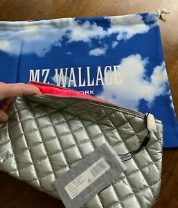 NWT NEW MZ Wallace Quilted Zoey Cosmetic Case Silver Tin Metallic Fuchsia Lining