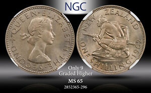1962 NEW ZEALAND 1 SCHILLING NGC MS 65 ONLY 9 GRADED HIGHER