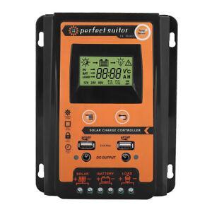 MPPT LCD Solar Panel Battery Regulator Charge Controller Dual USB 12V/24V 30A UK