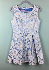 Joe Browns Blue Baroque Textured Structured Skater Dress With Pockets Sz 12 - B6