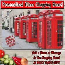 PERSONALISED LONDON PHONE BOOTH BOX GLASS CHOPPING BOARD CHRISTMAS GIFT ST047