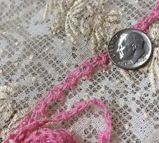 Antique Pink Dainty Dolls Trim Tatted Cotton Sew Repair DIY Crafter Supplies 32""