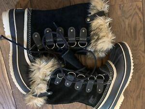 SOREL LADIES JOAN OF ARCTIC BLACK FUR SNOW BOOTS LACE UP UK SIZE 6.5 RRP £180