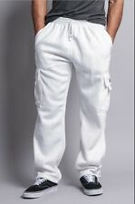 BIG AND TALL Mens Fleece Cargo Pocket Sweat Pants With Drawstring