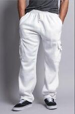Mens Fleece Cargo Pocket Sweat Pants With Drawstring Heavy Weight