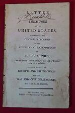 Antiquarian US Document Letter from Treasurer Expenditures War Department 1803